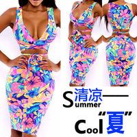 2014 Summer dress hot women fashion sexy printed bandage Bodycon dress Hot Spot nightclub V-neck Pencil Dress