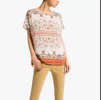 ST2244 New Fashion Ladies' elegant Vintage totem print chiffon spliced blouse short sleeve Shirt casual slim brand designer tops