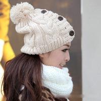 Hot Sale 2014 Hats For Women Three Buttons Warm Knitted Hat Fashion Crochet Beanie Caps Women's Beanies Casual Woolen Winter Hat