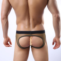 Male panties u bags male sexy temptation gauze viscose thin transparent double male g string underwear pouch