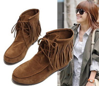 New autumn 2014 ankle boots Tassel Height increasing short women boots black brown yellow  free shipping