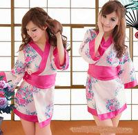 Sexy Lingerie Set Japanese Satin Kimono Cosplay Erotic Halloween Costumes For Women Fancy Dress + Ribbon Belt + G-string