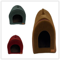 Free shipping new style pet dog puppy cat bed house  kennel portable flocking soft fabric coffee/armygreen//red three colors