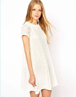 Ms. Sexy hollow-out decorative pattern women party night elegant mini lace dress with short sleeves women summer dress