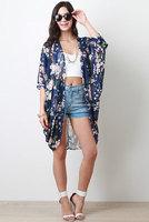 Boho Hippie Floral Loose Style Kimono Cape Blouses high quality free shipping