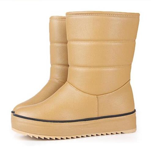 2014 women flat heels winter snow boots shoes mid calf brand designer PU leather fashion ladies platform warm ankle boots(