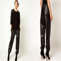2014 black Loose Leather Jogging Pants Harem Faux Leather Sweatpants Joggers Street Fashion Women Pants