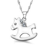 Wholesale or retail peneny fashion 925 Sterling Silver Small horse Necklace Pendant Jewelry ST-NK-024
