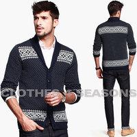 Europe Vintage Jacquard Weave 2014 Fashion Men's Cardigan Sweater Shawl Collar Design 100% Cotton Cardigan Knitwear For Men
