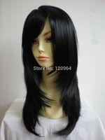 Shipping Long Straight Layered Black Wigs Kanekalon hair wigs Free deliver