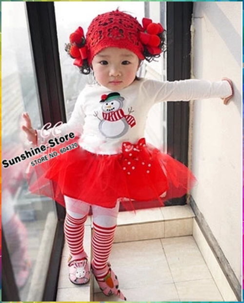 Sunshine Baby #7A5588 8 pcs/lot Cute Snowman Pattern Girls Dresses Bow Ball Gown Party Dresses Girls Christmas Clothes Gifts(China (Mainland))