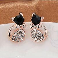 Hot Gold Small Lovely Jewellery Full Rhinestone Cat Earring