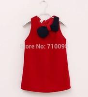 5pieces/lot, Autumn Baby Girls Sleeveless bow woolen Dress Children Dresses, red, A-g066