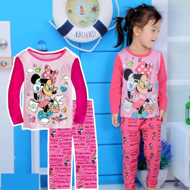 nova chegada pijamas fantasia minnie mouse primavera crianças outono manga longa meninas pijama todder varejo fixado sleepwear bebê(China (Mainland))
