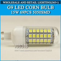 5PCS/lot High brightness led bulb lamp Lights Corn Bulb G9 15W 5050SMD 360 degrees Cold white/warm white AC220V 230V 240V