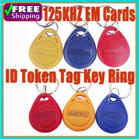 50pcs/1lot 125Khz TK4100 Keychain Writable Rewrite Keyfobs Em RFID Cards Control Access Token Tag Key Ring Proximity Card