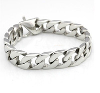 """Free Shipping High Quality 8.66"""" 15mm Silver Curb Cuban Stainless Steel Bracelet Mens Boys Chain Bracelet Fashion Jewelry"""