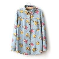 2014 New Spring women Blouses & Shirts cartoon pattern roupas Denim camisas stitching long-sleeved blusas femininas for ladies