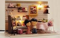 DIY LED Light dollhouse cake sweet shop miniature kit