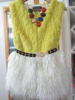 2014 new women's wool coat fox fur coat fur vest fur vest splicing vest free shipping