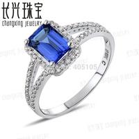 5x7mm Emerald Violet Blue Tanzanite 0.25ct Diamonds 14kt White Gold Engagement Wedding Ring