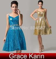 Grace Karin A-line Spaghetti Straps V-Neck Sequins Wedding Party Ball Evening Short Prom Formal Dresses Golden/Blue AL16 CL6149