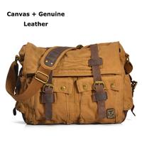 Vintage Men Messenger Bags Genuine Leather&Canvas Men's Travel Bags Cross Body Bag Women Fashion Shoulder School Bag Handbag