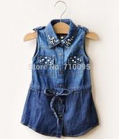 6pieces/lot, Summer Baby demin Dress, Girls pearl Dress, A-1-009