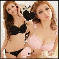 Women's fashion style bra set  2 breasted A B cup girl  bra sets Hot sell Black, pink Lace push up bra panties set Free shipping