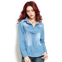 New Autumn Wholesale Prices Women's Long-Sleeved Pocket Denim Jacket Lapel Lined denim Suit Coat