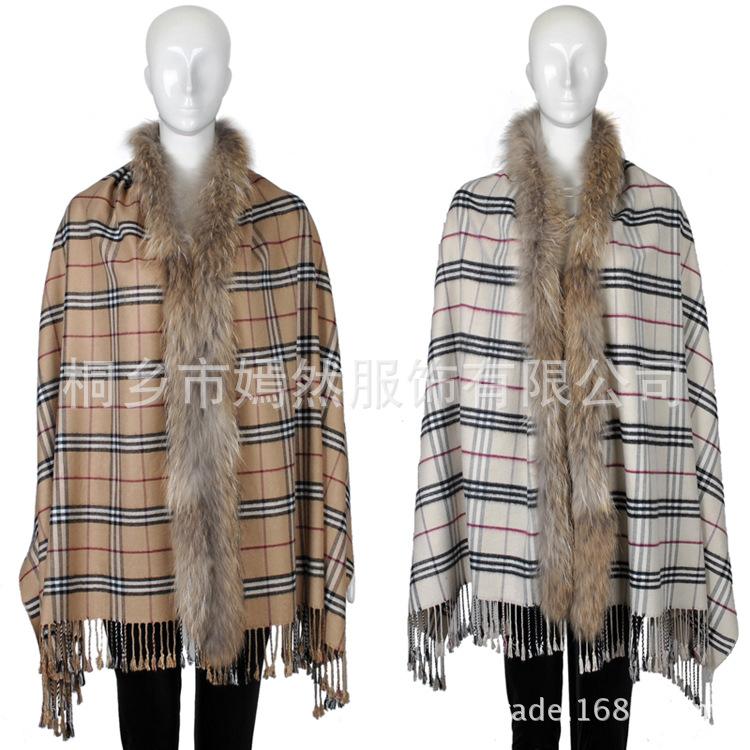 High Quality New 2014 Winter Autumn Brand Women Cardigan Cashmere Scarf Raccoon Fur Shawl Tassel Lattice Long Cape Plaid Tippet(China (Mainland))