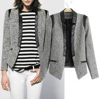 Europe autumn 2014 new woolen with PU jacket suit women Slim grey color long sleeve jacket women fashion winter coat women