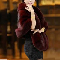 2014 Women's new fashion genuine fur shawl cape coat jacket cape bridal wear mink fur jacket coat