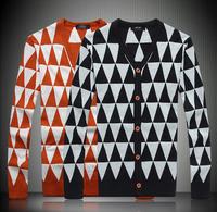 Free shipping new style in 2014 male high quality Diamond lattice cardigan mercerized cotton men sweater 8801