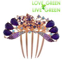 2014  austrian crystal butterfly hair jewelry Hair comb accessories Headress hairpins hairbands fashion women bridal wedding 615