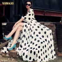 Fashion Slim Black And White Dot V-neck Half Sleeve Chiffon Ultra Long One-piece Dress Floor Length Plus Size Bohemian Dress