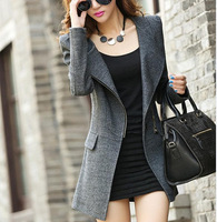 fashion 2014 newwomen's winter coat in black woolen coat joker popular ladies long wollen coat woman plus size