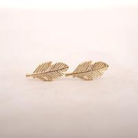 fashion new leaf stud earrings for women fashion Jewelry free shipping