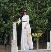 Fashion Slim Chiffon Turn-down Collar Ultra Long One-piece Dress Floor Length Plus Size White Brief Dress