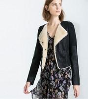 winter short leather jacket women 2014 European style woman leather coat stitching fur jacket turn-down jacket women