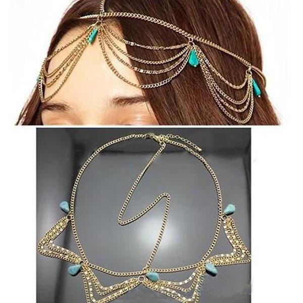 Hair Accessories Charm Gothic Bohemian Boho Hair Crown Cuff Headband Headwrap Headdress Chain(China (Mainland))