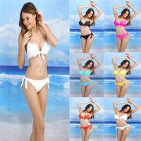 b1003 sexy women bikini set hot selling 2014 bowknot push up solid color swimwear fashion swimsuit