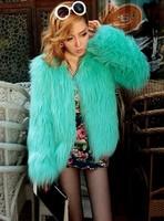 2014 Hitz women's fashion fox fur coat wool coat free shipping