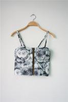 2014 new European style  retro flower printed  Bra  chest vest