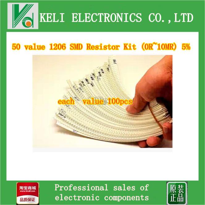 Free Shipping 5000pcs/lot = 50 Value 1206 SMD Resistor Kit (0R~10MR) 5%(China (Mainland))