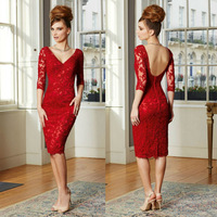 2015 New Arrival Short Design Formal Evening Dress Elegant Sexy Backless Long Sleeve Lace Red Evening Dresses