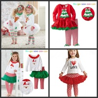 Wholesale girls clothing set kids 2pcs outfits children christmas holiday clothes set boys santan Claus deer cartoon clothes
