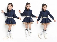 2014 autumn new arrival girls fashion and cute long sleeves lace jean dress for 5-8years old free shipping
