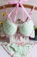 Women's sexy flowers style bra set! Front Closure A B cup bra sets,Light green, red, black lingerie push up bra panties set