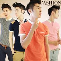 2014 turn-down collar t-shirt male short-sleeve polo shirt male summer brief fashion top trend